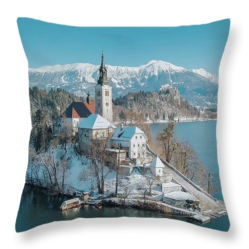 Lake Bled Winter Dreams Throw Pillow For Sale By Jr Photography