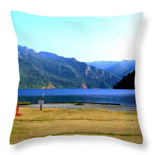 Lake Crescent Throw Pillow featuring the photograph Lake Crescent Wa by Terry Matysak