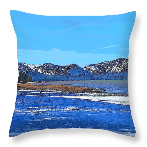 Blue Throw Pillow featuring the mixed media Lake Tahoe by Christina McNee-Geiger