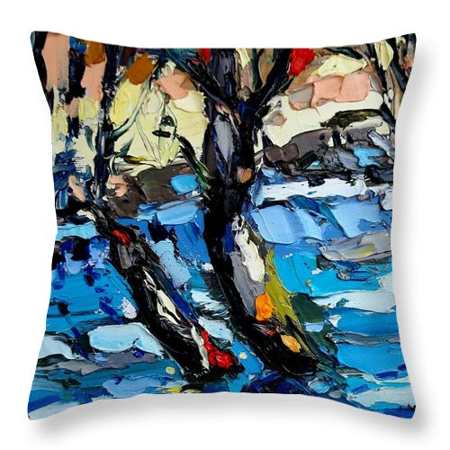 Landscape Throw Pillow featuring the painting Landscape by Mentor Berisha