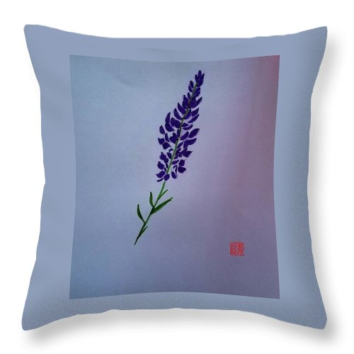 Throw Pillow featuring the painting Lavender by Margaret Welsh Willowsilk