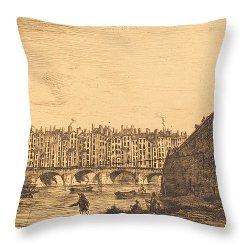 Throw Pillow featuring the drawing Le Pont-au-change, Paris, Vers 1784 by Charles Meryon After Victor Jean Nicolle