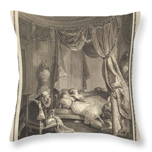 Throw Pillow featuring the drawing Le Roman Dangereux by Isidore-stanislas Helman After Nicolas Lavreince