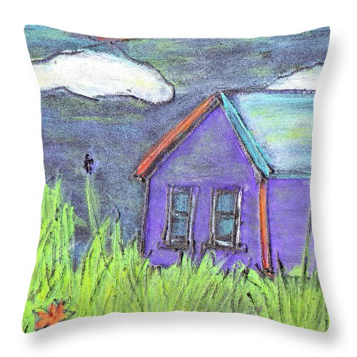 Abandoned Throw Pillow featuring the painting Left Behind by Wayne Potrafka