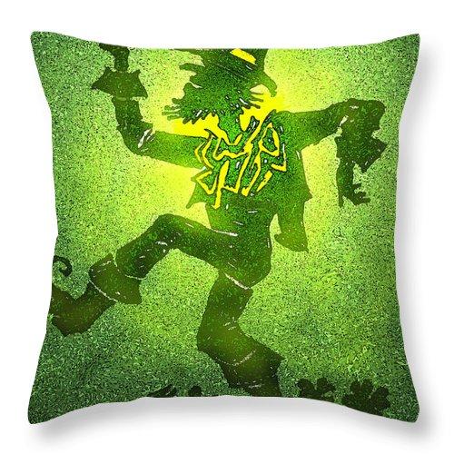 Leprechaun Throw Pillow featuring the painting Leprechaun by Kevin Middleton