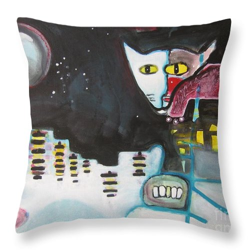 Cat Paintings Throw Pillow featuring the painting Let Me Out3 by Seon-Jeong Kim