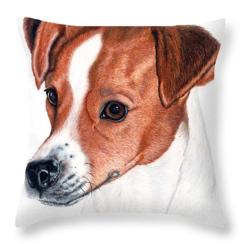 Jack Russell Terrier Throw Pillow featuring the drawing Lewie by Kristen Wesch