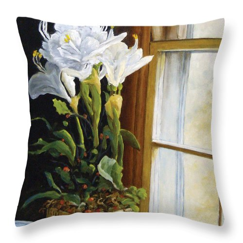 Art Throw Pillow featuring the painting Lillies by Richard T Pranke