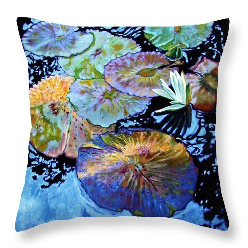 Water Lilies Throw Pillow featuring the painting Lily Pad Palettes by John Lautermilch