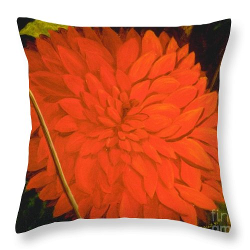 Flower Portrait Throw Pillow featuring the painting Linda's Red Dahlia by Mary Erbert