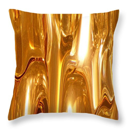 Abstract Throw Pillow featuring the digital art Liquid Gold by Florene Welebny