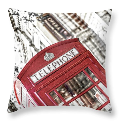 Big Ben Throw Pillow featuring the photograph London Telephone 3b by Alex Art and Photo