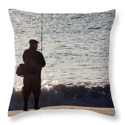 Fisherman Throw Pillow featuring the photograph Lone Fisherman by Mary Haber