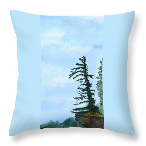 Tree Throw Pillow featuring the painting Lone Sentinel by Peggy King