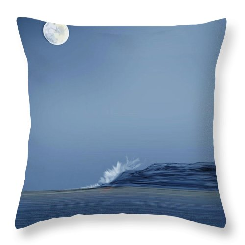 Seascape Throw Pillow featuring the painting Looking At The Moon by Anne Norskog