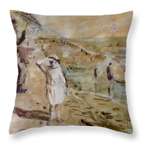 Memorabilia Throw Pillow featuring the painting Love Ted, Seal Beach 1921 by Diane Renchler