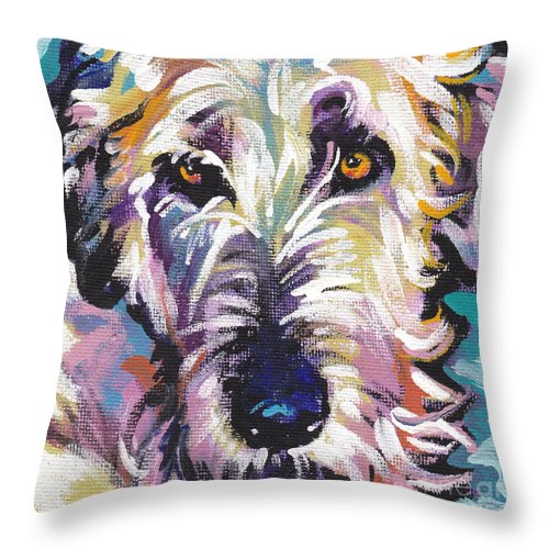 Irish Wolfhound Throw Pillow featuring the painting Luck O The Irish by Lea S