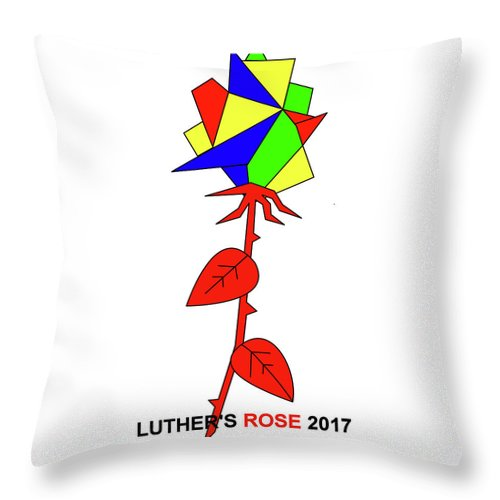 New Rose Throw Pillow featuring the mixed media Luthers New Rose by Asbjorn Lonvig