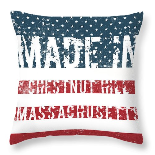 Chestnut Hill Throw Pillow featuring the digital art Made In Chestnut Hill, Massachusetts by Tinto Designs