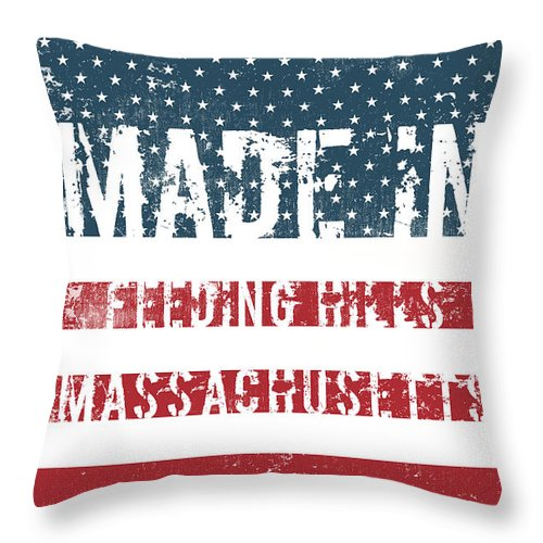 Feeding Hills Throw Pillow featuring the digital art Made In Feeding Hills, Massachusetts by Tinto Designs