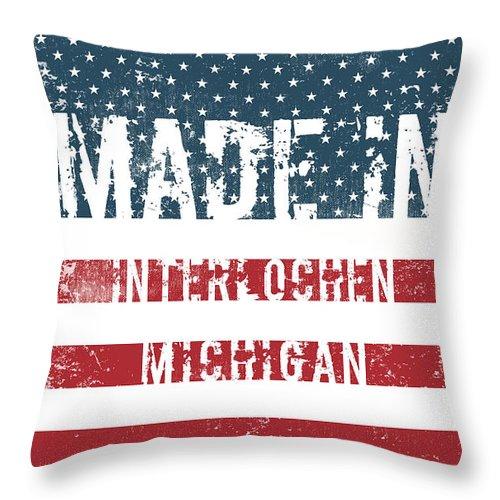 Interlochen Throw Pillow featuring the digital art Made In Interlochen, Michigan by Tinto Designs