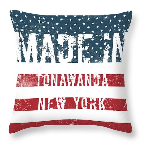 Tonawanda Throw Pillow featuring the digital art Made In Tonawanda, New York by Tinto Designs