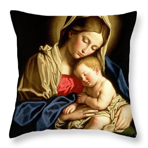 Mary Throw Pillow featuring the painting Madonna And Child by Il Sassoferrato