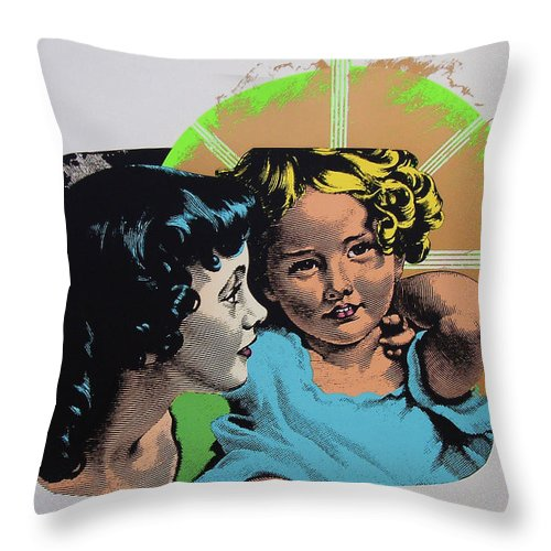Madonna And Child Throw Pillow featuring the mixed media Madonna De Milo by Charles Stuart