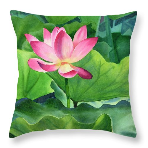 Pink Throw Pillow featuring the painting Magenta Lotus Blossom by Sharon Freeman