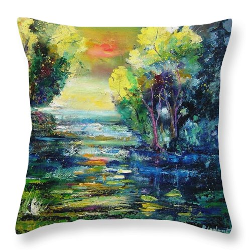 Pond Throw Pillow featuring the painting Magic Pond by Pol Ledent