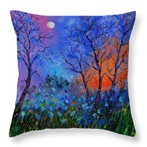 Landscape Throw Pillow featuring the painting Magic wood by Pol Ledent