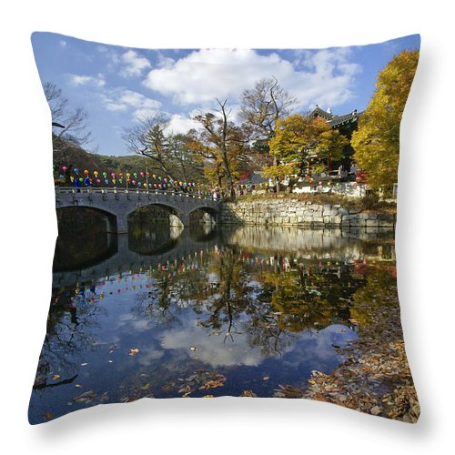 Korea Throw Pillow featuring the photograph Magoksa Buddhist Temple by Michele Burgess