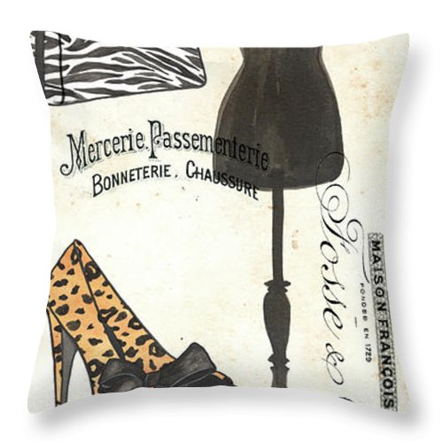 Fashion Throw Pillow featuring the painting Maison De Mode 1 by Debbie DeWitt
