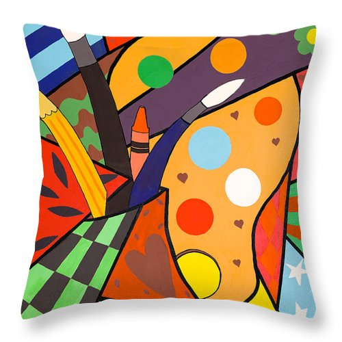 Pencil Throw Pillow featuring the painting Make Your Mark by GG High