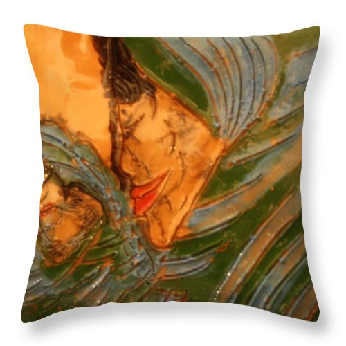 Jesus Throw Pillow featuring the ceramic art Mama - Tile by Gloria Ssali