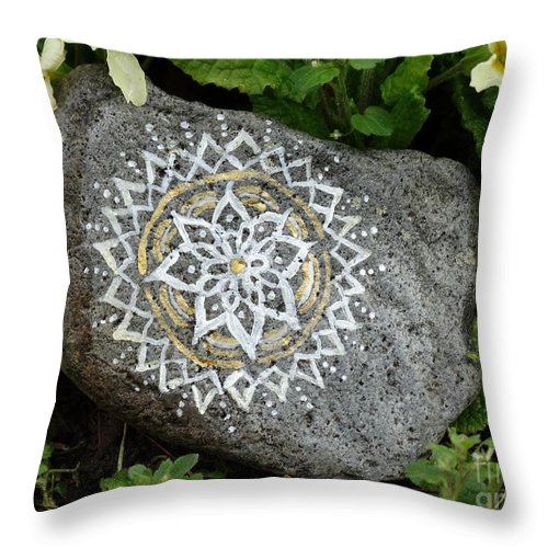 Mandala Throw Pillow featuring the photograph Mandala Stone by Vania