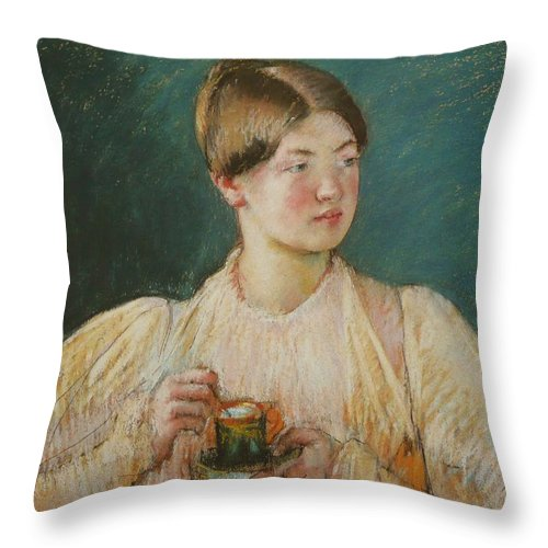 La Tasse De The Throw Pillow featuring the painting Mary Cassatt by MotionAge Designs