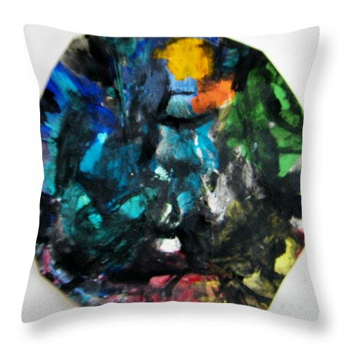 Abstract Throw Pillow featuring the painting Mask by Judith Redman
