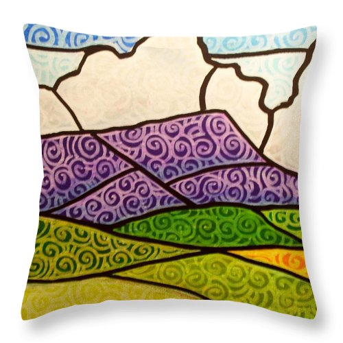 Mountians Throw Pillow featuring the painting Massanutten Peak by Jim Harris