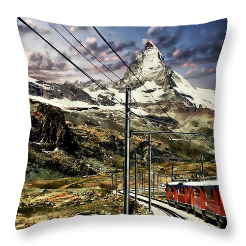 Landscape Throw Pillow featuring the photograph Matterhorn Panorama by Anthony Dezenzio