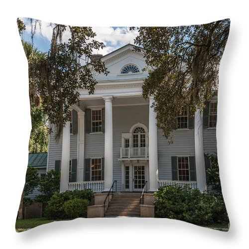 Slave Cabin Throw Pillow featuring the photograph Mcleod Plantation by Dale Powell