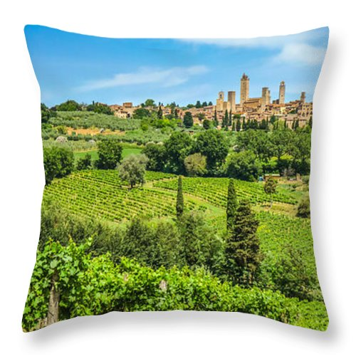 Ancient Throw Pillow featuring the photograph Medieval Town Of San Gimignano, Tuscany, Italy by JR Photography