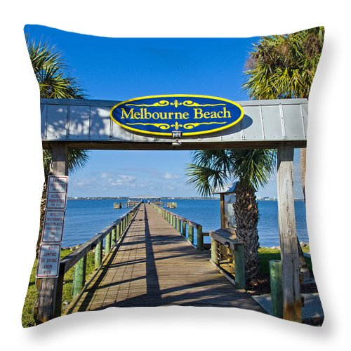 Florida; Melbourne; Beach; Atlantic; Coast; East; Space; Pier; Pineapples; Steamboat; Load; Cargo; I Throw Pillow featuring the photograph Melbourne Beach Florida by Allan Hughes