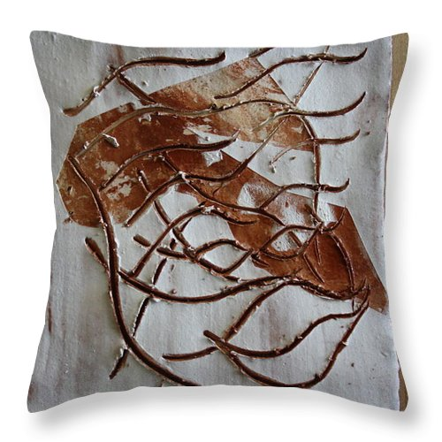 Jesus Throw Pillow featuring the ceramic art Mellow - Tile by Gloria Ssali