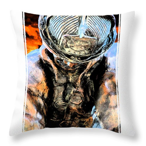 Firefighter Throw Pillow featuring the digital art Memorial To A Hero by Tommy Anderson