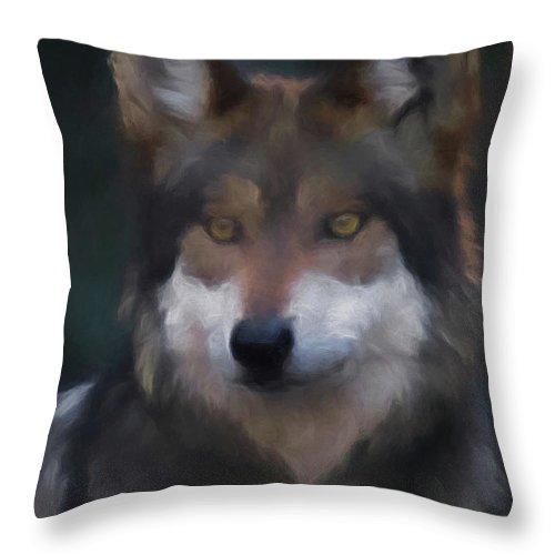 Wolf Throw Pillow featuring the digital art Mexican Grey Wolf Da by Ernie Echols