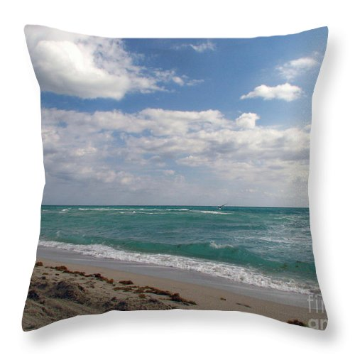 Miami Beach Throw Pillow featuring the photograph Miami Beach by Amanda Barcon