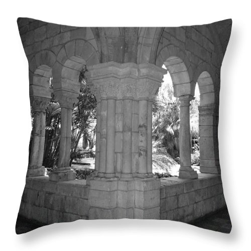 Black And White Throw Pillow featuring the photograph Miami Monastery In Black And White by Rob Hans