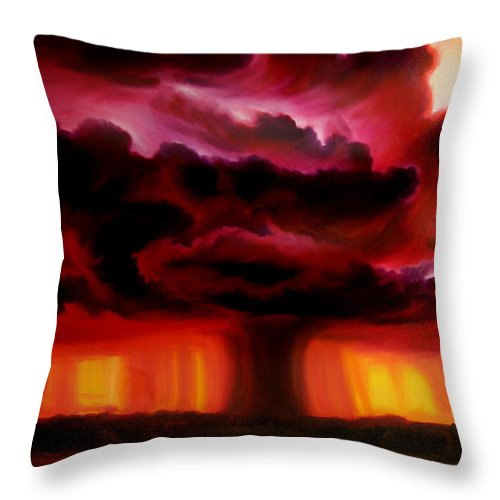 Skyscape Throw Pillow featuring the painting Microburst by James Christopher Hill