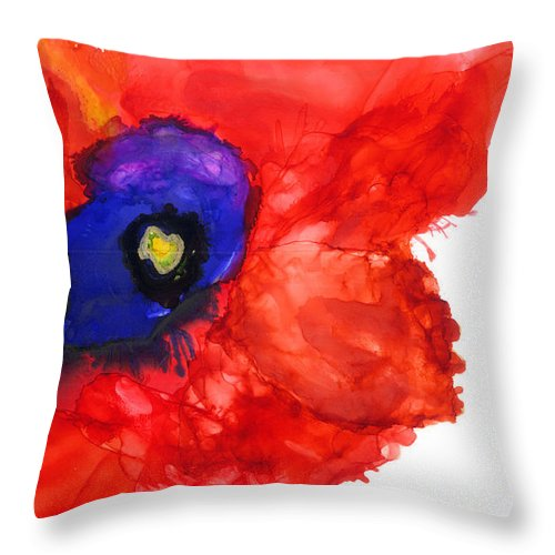 Red Throw Pillow featuring the mixed media Midnight Bloom by Marilyn Johnson